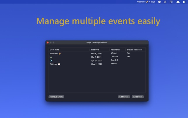 Days – Countdown for Menu Bar 1.1 Mac 破解版 日历提醒软件