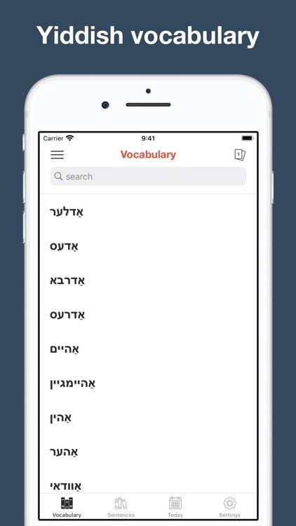 Yiddish vocabulary & sentences