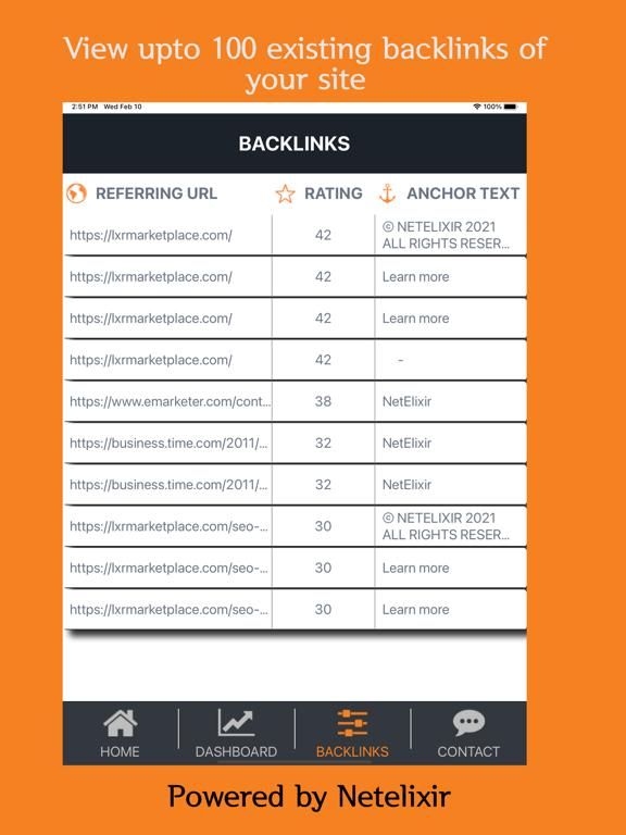 SEO BackLinks screenshot