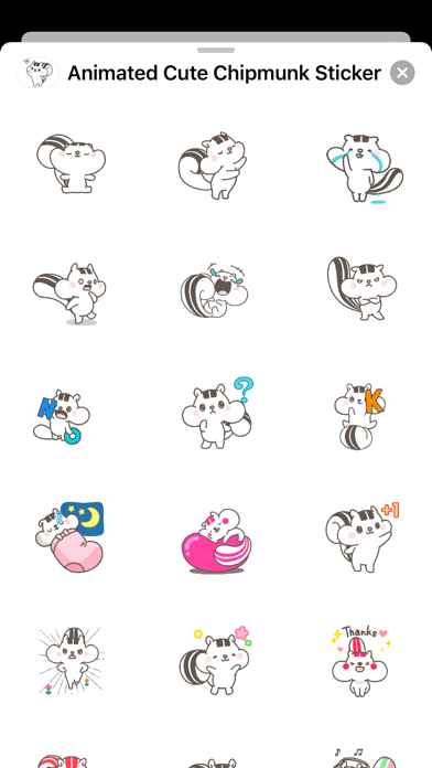 Animated Cute Chipmunk Sticker screenshot 2