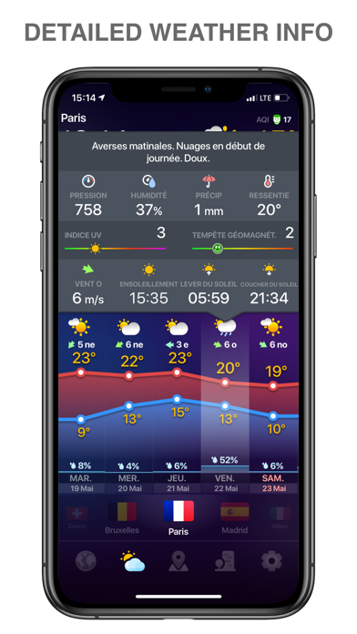 WEATHER NOW daily forecast app Screenshot