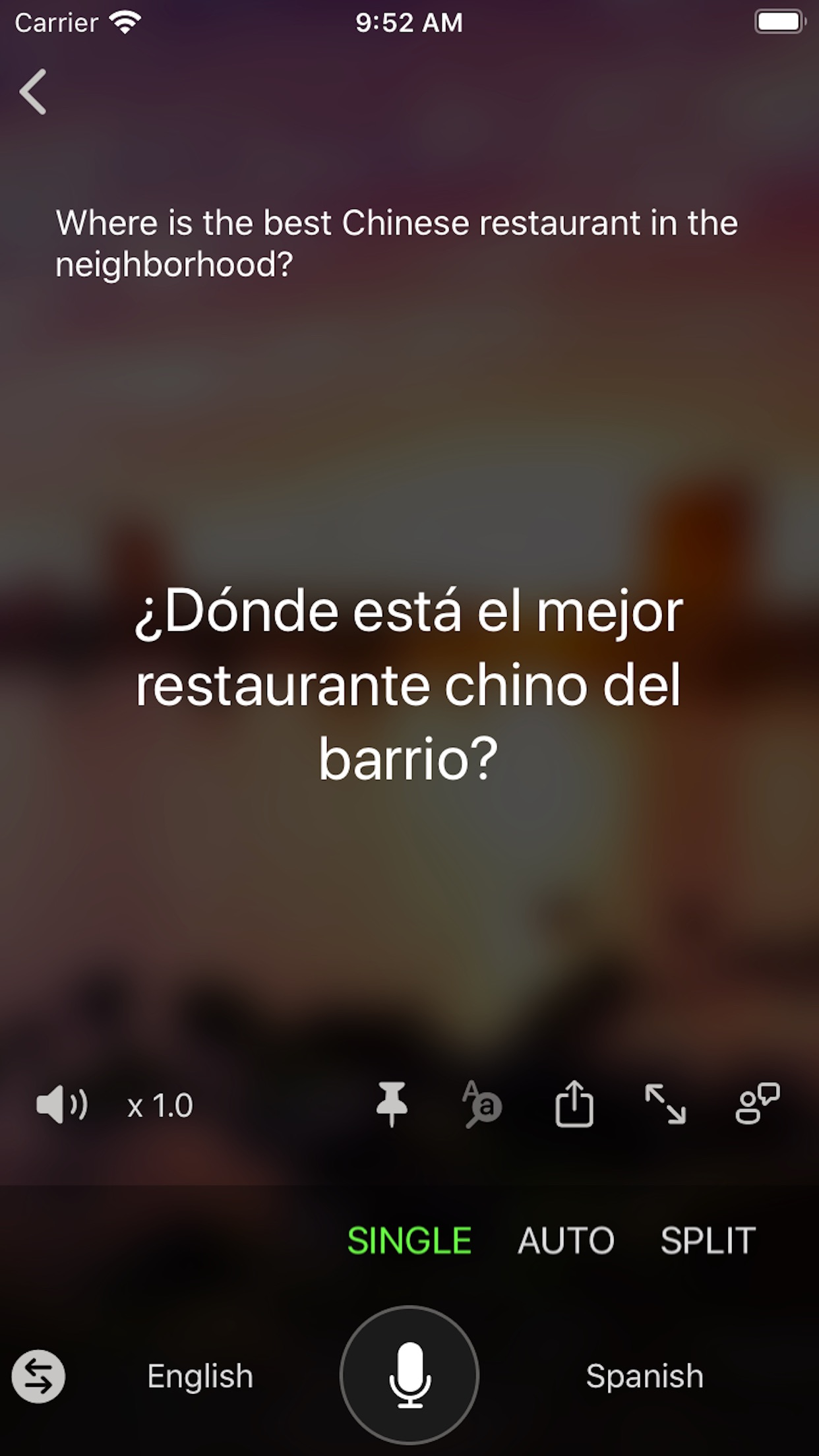 Screenshot do app Microsoft Translator