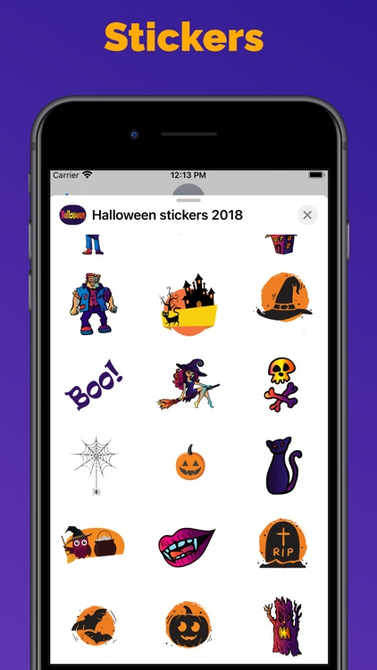 Halloween stickers and emoji