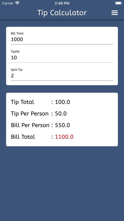Tip Calculator - Split Tip