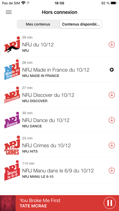 messages.download NRJ Radio software