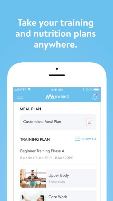 Screen Shot Peak Fitness App 1