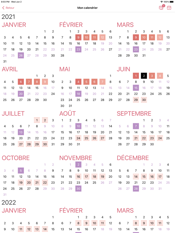 WomanLog Pro Calendrier