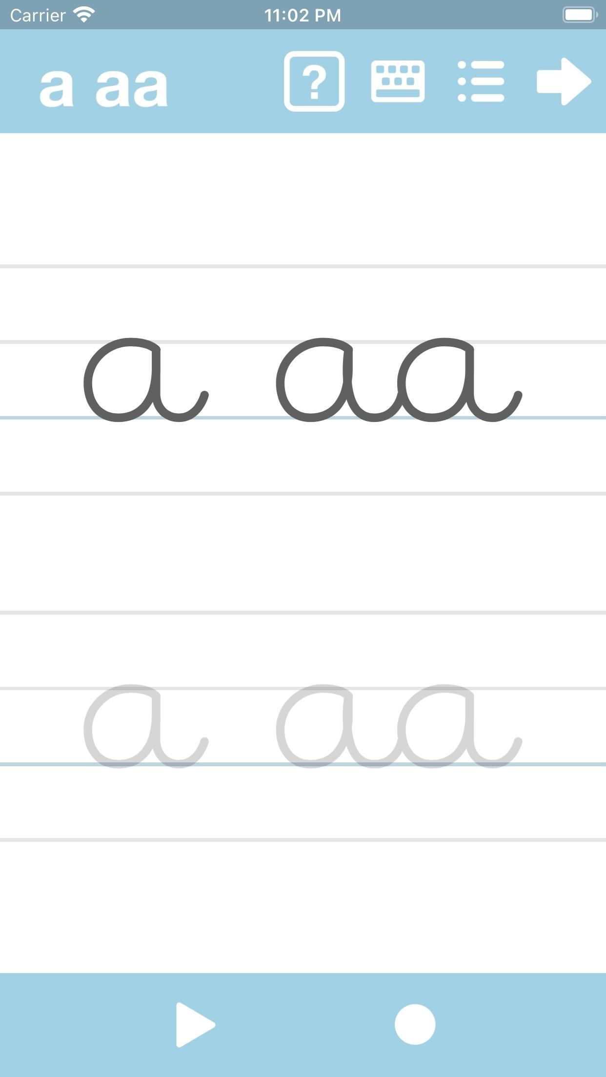 Screenshot do app Cursive Writing App@ abCursive