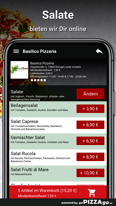 Basilico Pizzeria Eningen unte screenshot 5