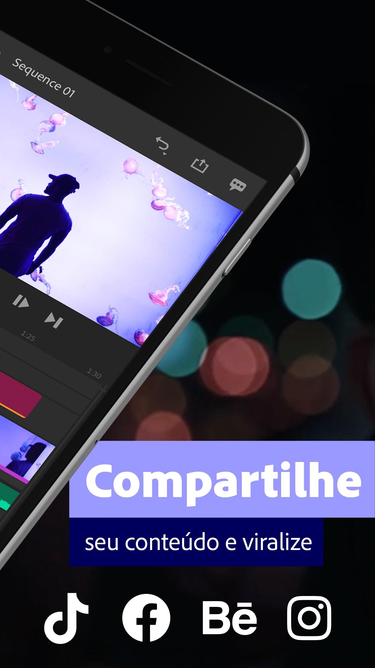 Screenshot do app Adobe Premiere Rush para Vídeo