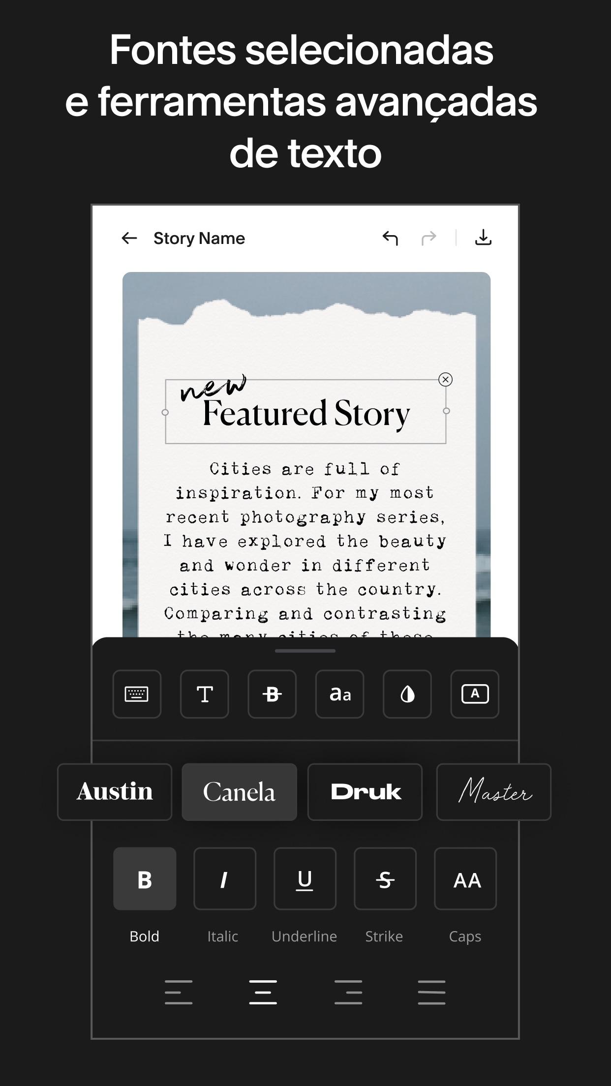 Screenshot do app Unfold — Editor de Stories