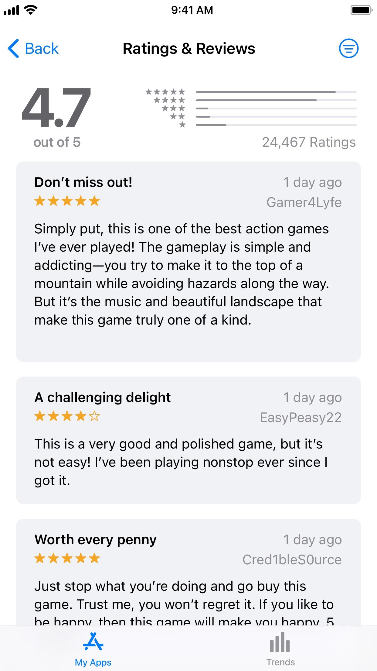Screenshot do app App Store Connect