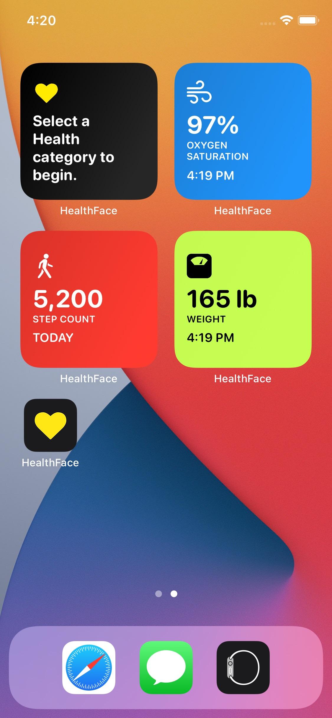 Screenshot do app HealthFace