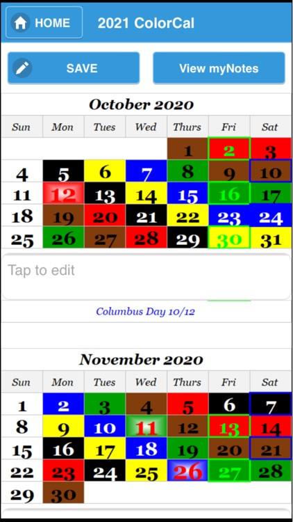 2021 ColorCal USPS color coded