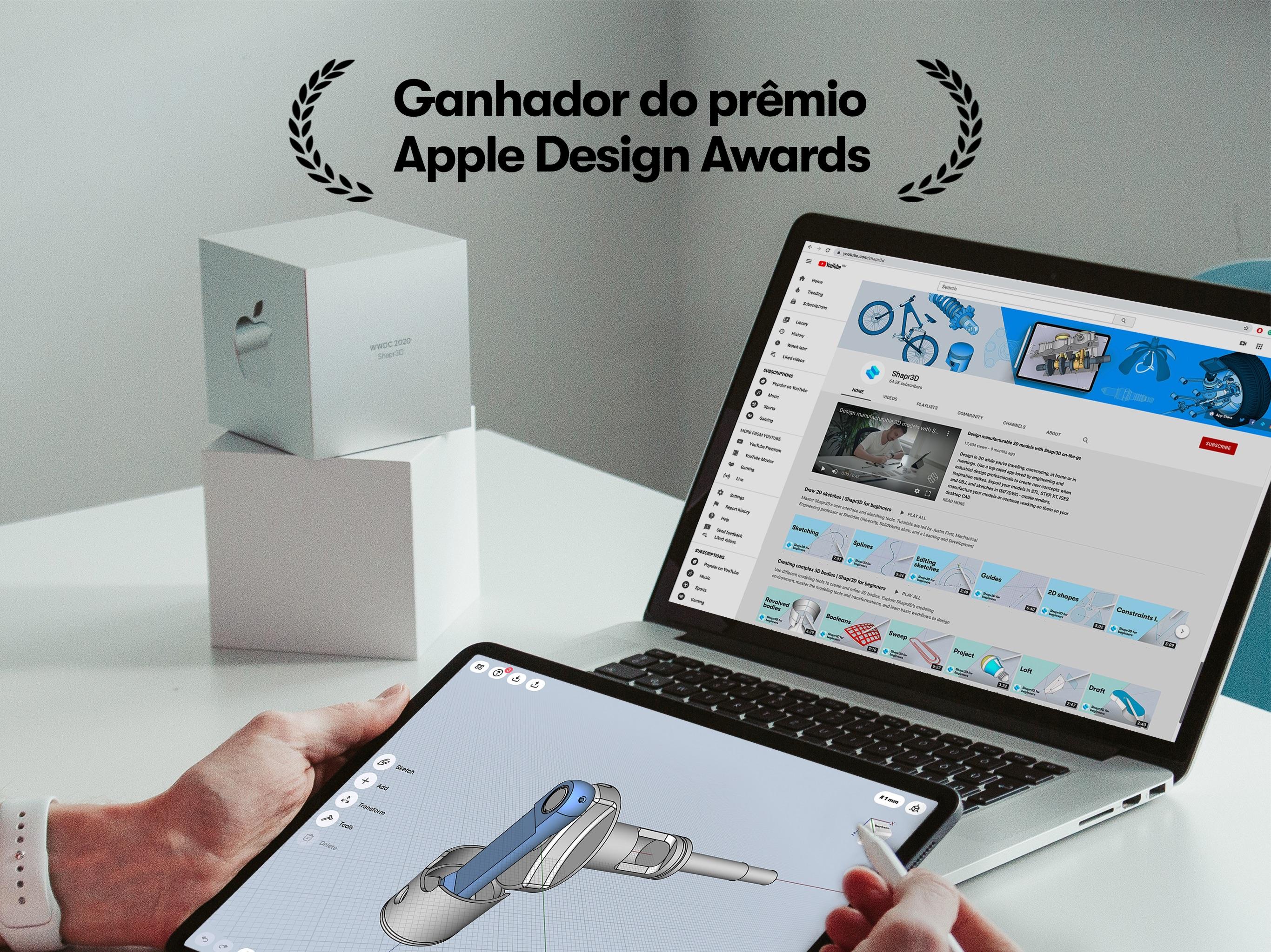 Screenshot do app Shapr: CAD para modelagem 3D