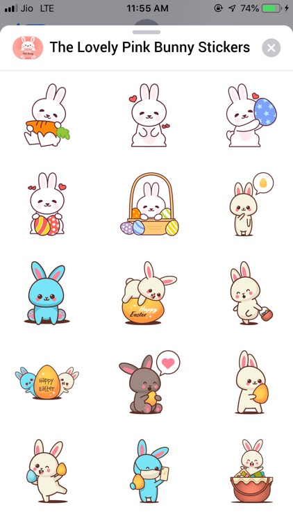 The Lovely Pink Bunny Stickers screenshot-3