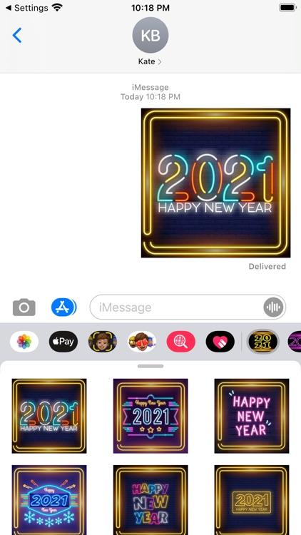 New Year Neon Stickers 2021 screenshot-3