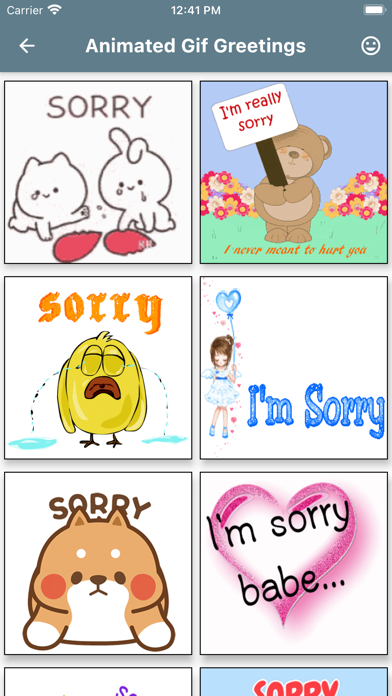 Sorry Card Status GIF Messages Screenshot