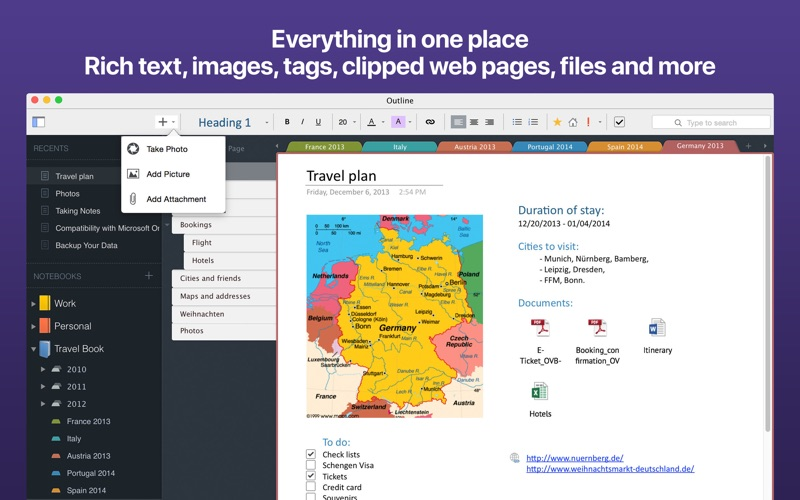 Outline: Knowledge Organizer Screenshots