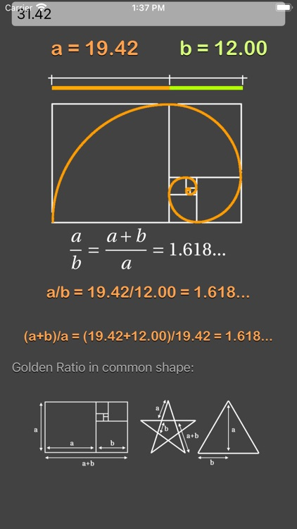 Golden Ratio Calculator Plus screenshot-3