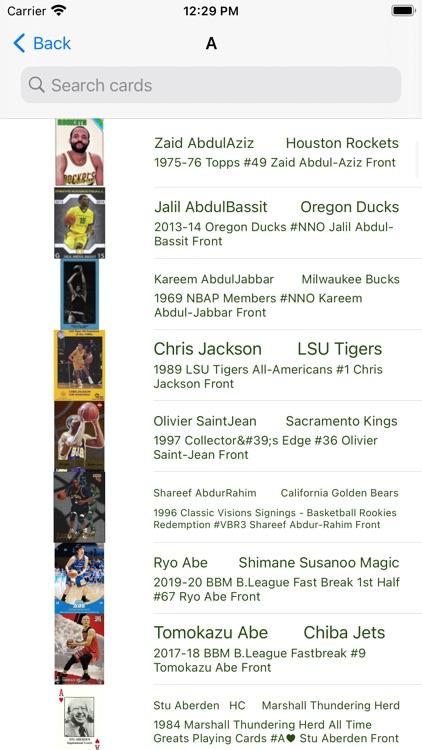 Basketball trading cards Light