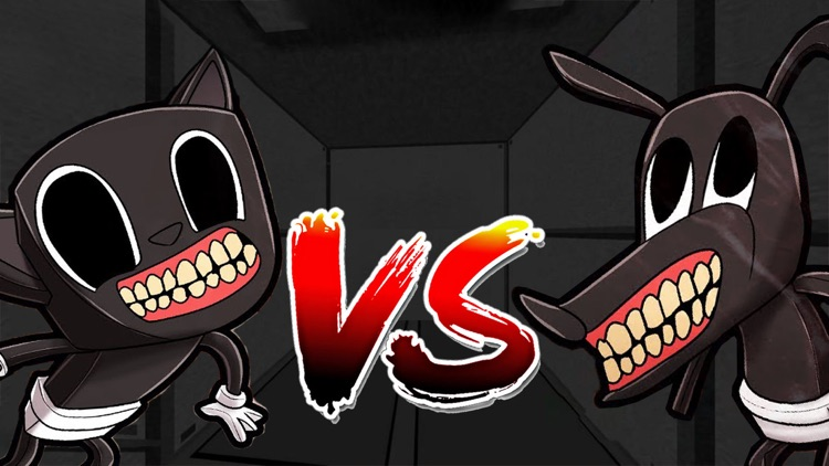 Horror Cartoon Cat Versus Dog