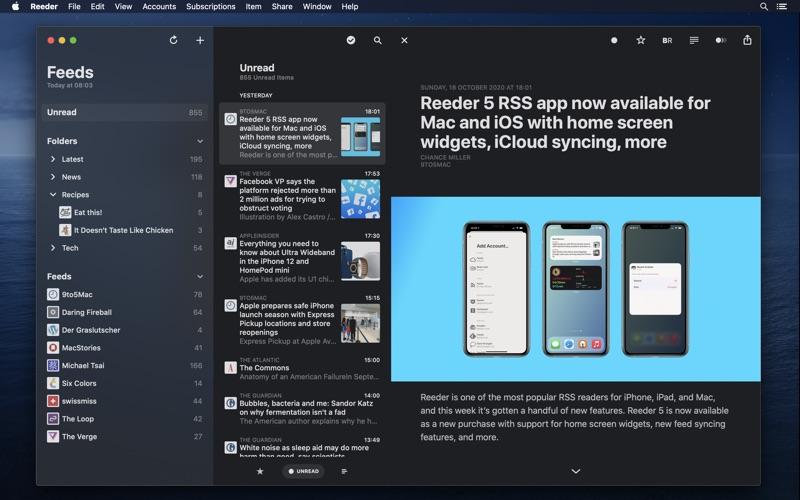 Reeder 5. Screenshots