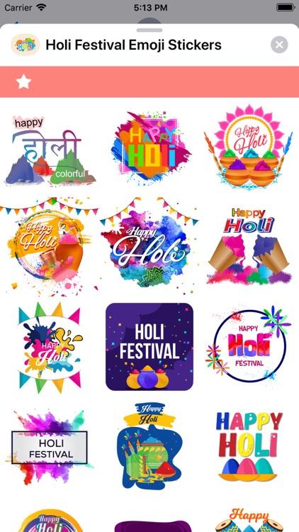 Holi Festival Emoji Stickers