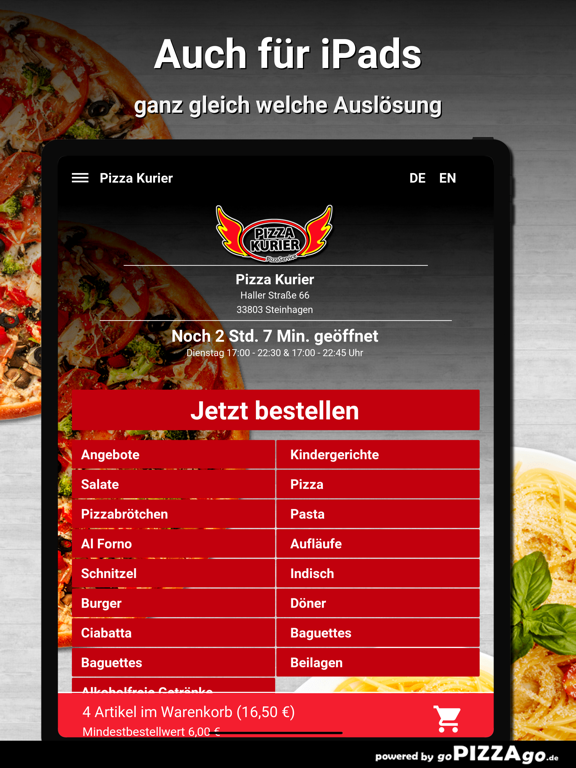 Pizza Kurier Steinhagen Essen screenshot 7