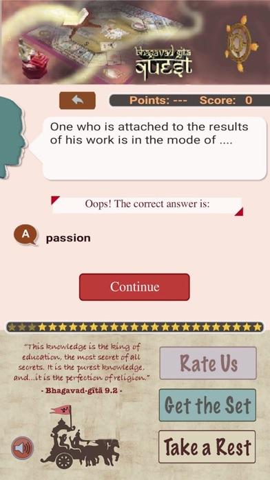 Bhagavad-Gita Quiz App Screenshot