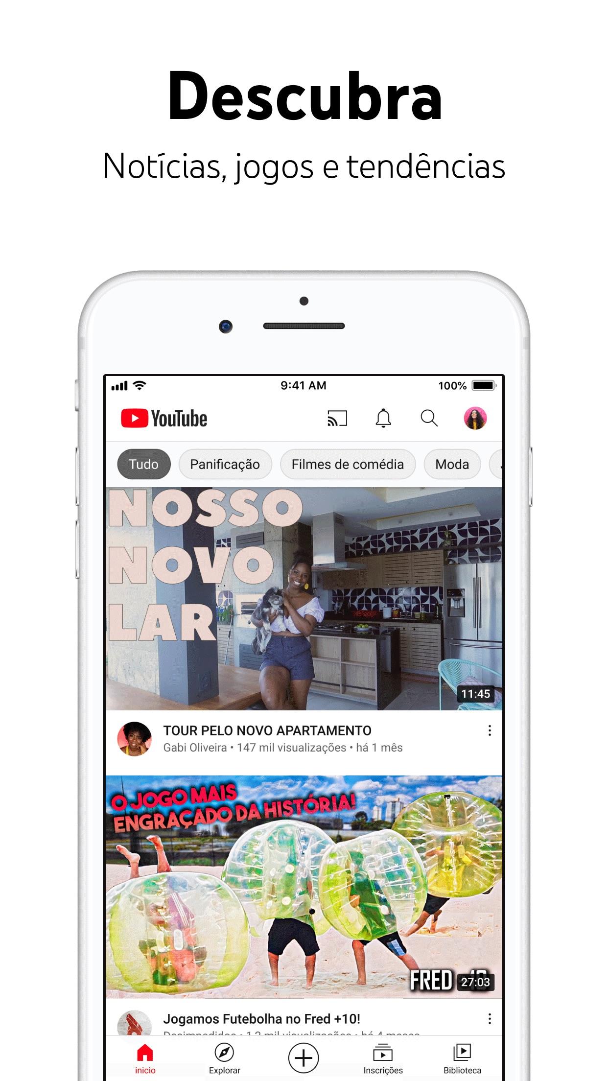 Screenshot do app YouTube