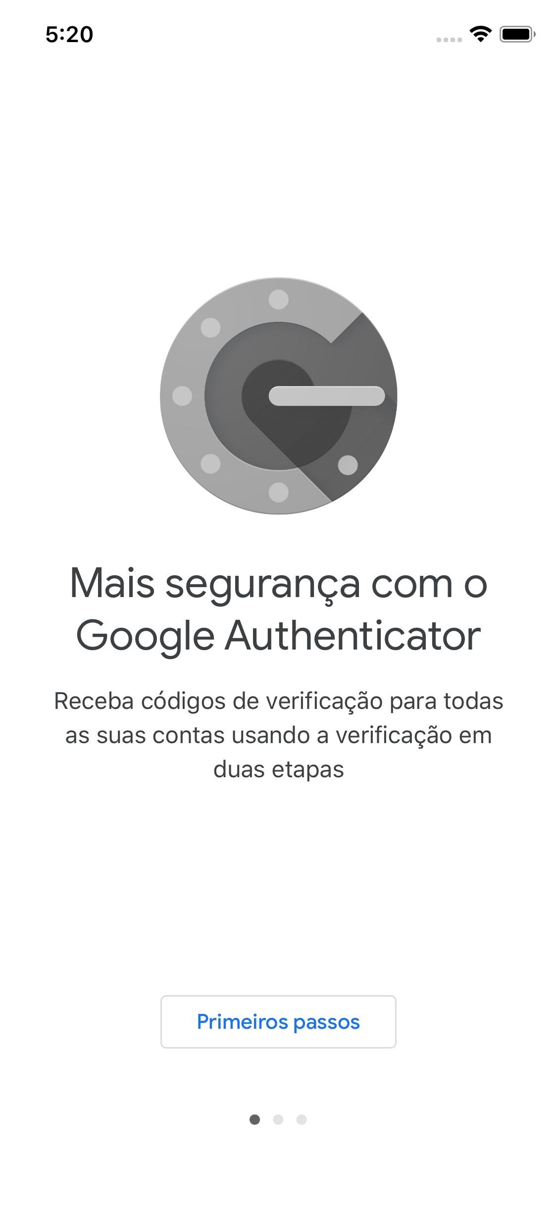 Screenshot do app Google Authenticator
