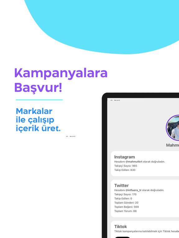 Influera ipad ekran görüntüleri
