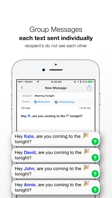 Reach: Group Text and Email Screenshot