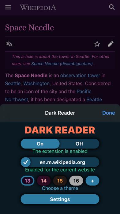 Dark Reader for Safari Screenshots